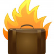 Luggage on fire illustration design on white background — Stock Photo
