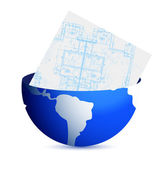 Blueprints and globe illustration design — Stock Photo