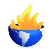 Burning earth globe illustration design on white — Stock Photo