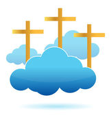 Clouds and crosses illustration design on a white background — Stock Photo