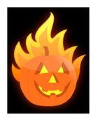 Halloween burning pumpkin illustration design — Stock Photo