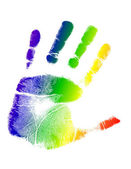 Bright colorful handprint illustration design — Stock Photo
