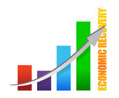 Economy recovery chart arrow illustration design on white — Stock Photo