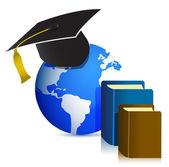 Chapeau de graduation et de livre. illustration de concept de l'éducation — Photo