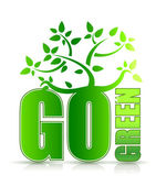 Go green concept with tree illustration design on white — Stock Photo