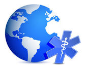 Globe with medical symbol illustration design — Foto de Stock