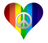 Rainbow hearth with peace sign over white — Stock Photo