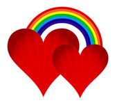 Hearts with rainbow illustration design on white background — Stock Photo