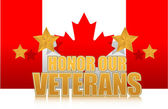 Canada honor our veterans gold illustration sign design on white — Stock Photo