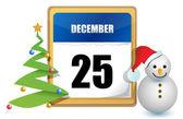 25 декабря дерево и снеговик иллюстрации дизайн календаря — Стоковое фото