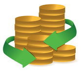 Stacks of coins with arrows illustration design over white — Stock Photo