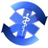 24/7 blue medical symbol cycle illustration design — 图库照片