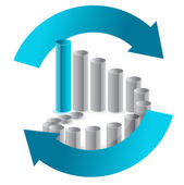 Business chart in arrow cycle illustration design on white — Stock Photo
