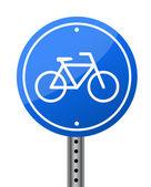 Calle letrero de bicicleta azul sobre fondo blanco — Foto de Stock