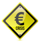 Yellow euro crisis sign illustration design on white — Stock Photo