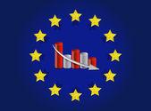 Vlajka evropské unie a klesající návrh obrázku grafu — Stock fotografie