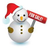 Sneeuwpop met een voor verkoop teken illustratie ontwerp op wit — Stockfoto