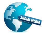 Social media globe illustration design over white — Stock Photo