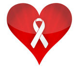 Red heart with white ribbon illustration design over white — Stock Photo