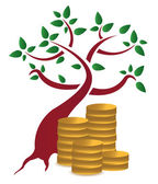 Money tree and coins design over a white background — Stock Photo