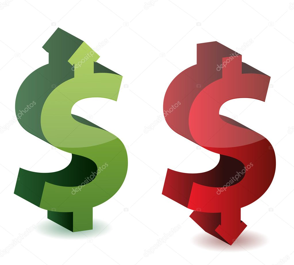 Exchange rate. Dollar growth. Falling Dollar.   Stock Photo #9308075
