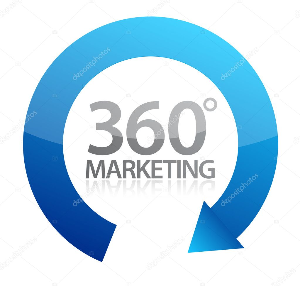 360 degrees marketing illustration design on white  — Stock Photo #9308111