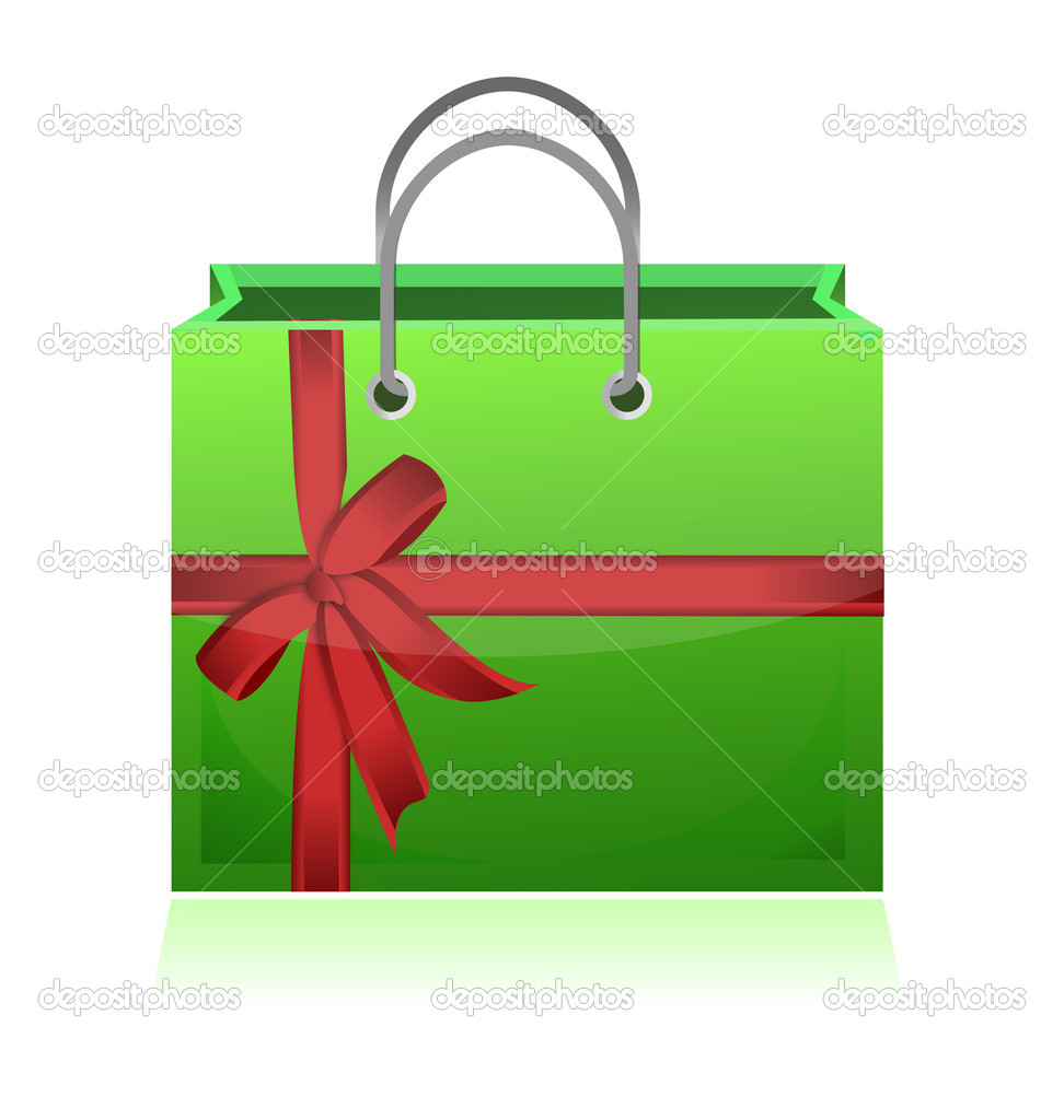 Green gift shopping bag illustration design on white background   Stock Photo #9308708
