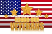 Us honor our veterans gold illustration sign design on white — Stock Photo