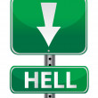 Stock Photo: Hell green street sign illustration design over white