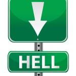 Hell green street sign illustration design over white — Stock Photo