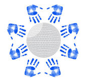 Hands around a golf ball illustration design on white — Stock Photo