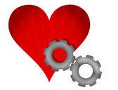 Czerwone serca i narzędzi projekt ilustracja na białym — Zdjęcie stockowe