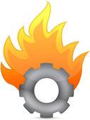 Gear on fire illustration design over white — Foto de Stock
