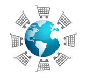 Shopping carts around the world, global market concept — Stock Photo