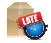 Late delivery box and watch illustration design on white — Stock Photo