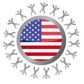Around a us flag illustration design over white — Stock Photo