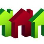 Row of houses illustration design over white — Stock Photo