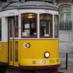Tram in Commerce Square, Lisbon, Portugal — Stock Photo