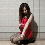 Prostitute with syringe — Stock Photo