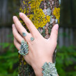 Lichen on hand — Stock Photo #8612888