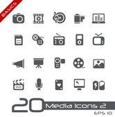 Multiedia ikony // základy — Stock vektor