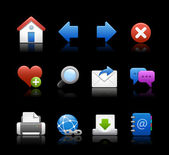 Web Icons // Black Background — Stock Vector