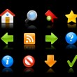 Web Site Icons - Gel Series // Black Background — Imagens vectoriais em stock