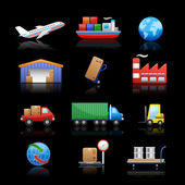 Industry & logistics Icons // Black Background — Stock Vector