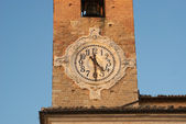 Detail of old city tower clock in Europe — Stock Photo