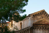 Fragment of pointed roof ancient church Italy — Stock Photo