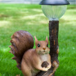 Royalty-Free Stock Photo: Garden decoration,squirrel with lamp and cone
