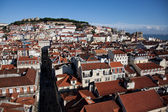 Bird view panorama of Lisbon Downtown — Stok fotoğraf