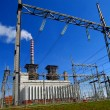 Stock Photo: Thermal power station, and high voltage grid