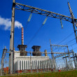 Stock Photo: Thermal power station, and the high voltage grid
